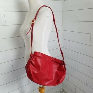 Vintage Red Purse 80s Hobo Bag Faux Leather Korean